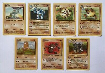 Pokemon Cards - Fighting (7 Cards, 1st Gen, Base Set, 1999, Common / Uncommon)