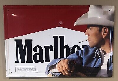 "MARLBORO COWBOY METAL SIGN 23.5"" X 15.5"" ORIGINAL 1994 Phillip Morris"