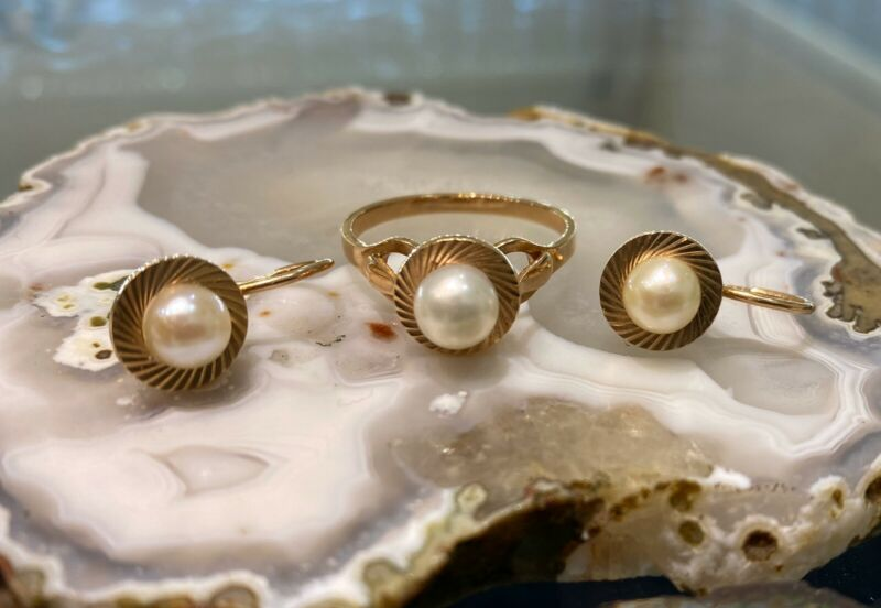 Russian Vintage Rose Gold Pearl Set Ring Earring 583 14 K Soviet Union Jewelry