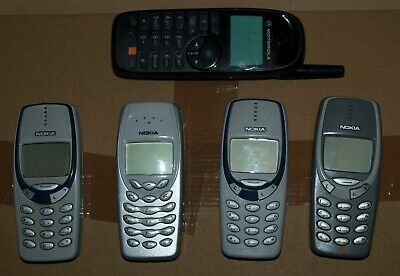 Old Nokia 3310, 3330(x2), 3410 and Motorola MP201A14