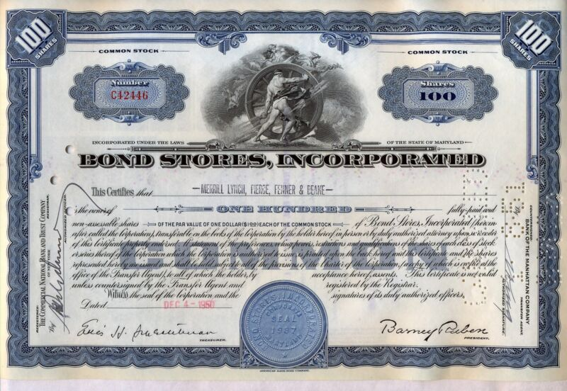 Bond Stores Incorporated Blue Stock Certificate Maryland