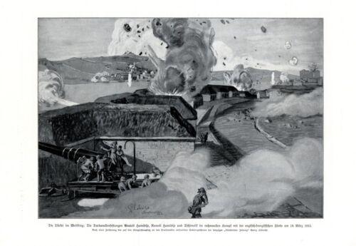 Turkey vs England & France WW 1 XL 1916 art print Fort Anatoli Rumeli Hamidije