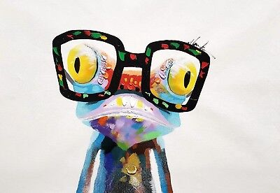 Modern Style Animal, Happy Frog 24x36 Hand painted on Giclee Canvas