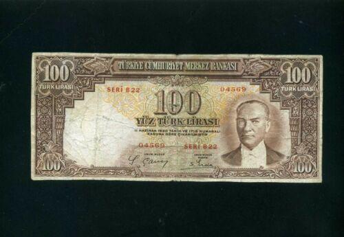 Turkey 100 lira lirasi 1930 (1938) P130 (Ataturk) - VG