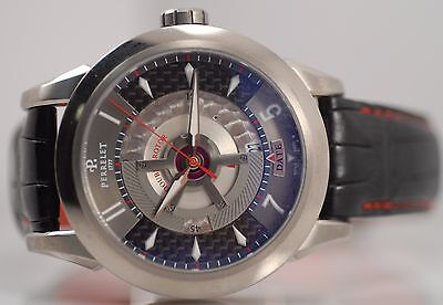 Swiss Perrelet A5002 Auto Date Double Rotor Titanium Sport Watch 100m P-181 Box