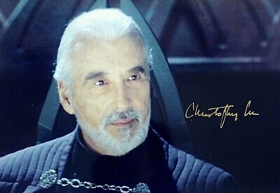 Christopher Lee (Star Wars), Hand Signed A4 Photo.