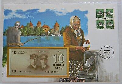 LITAUEN: Banknotenbrief 1993, 10 Litu 1991, unc., SEHR SELTEN !!! Lietuva !!!