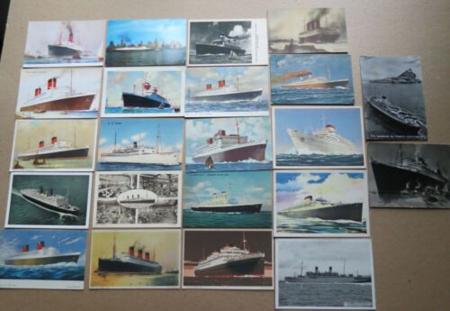 22 OCEAN LINER POSTCARDS - VINTAGE - Queen Elizabeth SS America ..