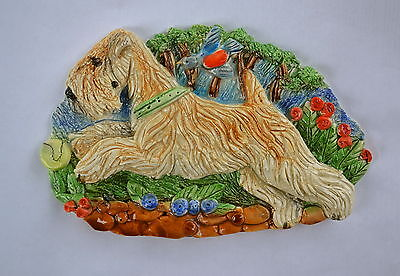 Wheaten terrier. Summer! Handsculpted ceramic wall plaque.Small.   .OOAK .LOOK
