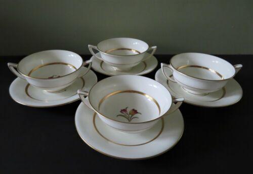 4 Minton Dover Cream Soup Bowls & Liners - 8 Perfect Pieces - 2 Sets Available