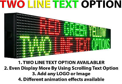 Marquee Tri Color Led Sign Programmable 6 X 76 Outdoor Text Graphic Display