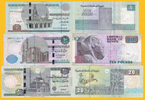Egypt Set 5, 10, 20 Pounds p-72, 73, 74 UNC Banknotes
