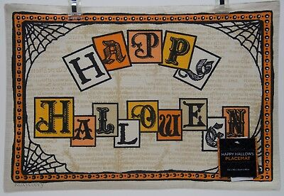 Arlee Home Fashions 4 Tan Happy Halloween 13x19 Placemat NWT