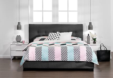 Double Bed Frame Quilted (Grey)