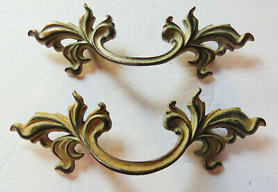 Vintage French Provincial Drawer Pull  3 Centers Dark Brass Color Clearance