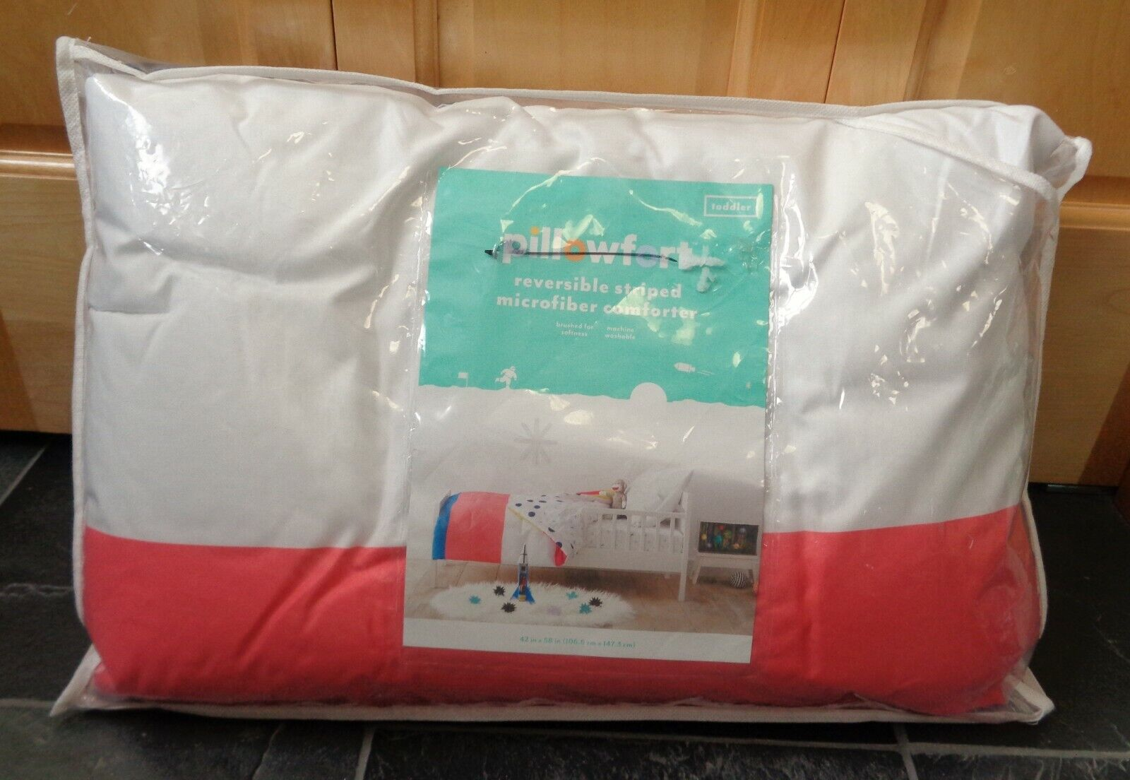 toddler striped reversible comforter new pink white