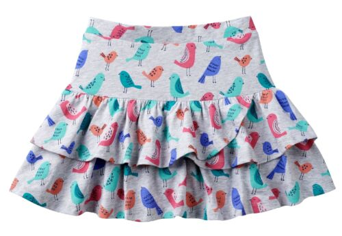 NWT Jumping Beans Dolphin Hem Tiered Gray Skort with Birds, Girls Size 6