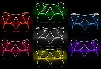 Glow Glasses Light Up El Wire Glowing Party Rave Glow-in-The Dark LED Sunglasses - Glow In Dark Light