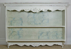 Vintage-Chic-French-Antique-White-Country-Wall-Mounted-Dresser-Shelf-Shabby
