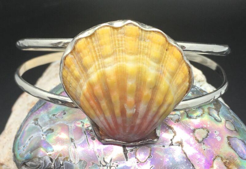 "Sunrise Shell Cuff Bracelet Sterling Silver. For 6""-7"" wrist BIG SHELL"