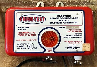 Farmtest Electric Fence Controller Model 2068 3-5 Miles 6v Battery Operated