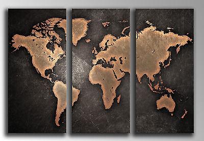 Cuadro fotografico base madera, 87 x 62 cm, Mapa Mundial Vintage, ref....