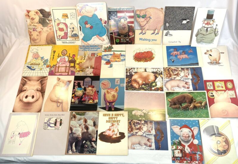 Vintage Ephemera 1970s-80s Holiday Cards With PIG - PIGS - HOG - HOGS Lot of 35