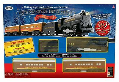 EzTec 29 Piece North Pole Express Christmas Train Set 11 Feet Of Track Brand New
