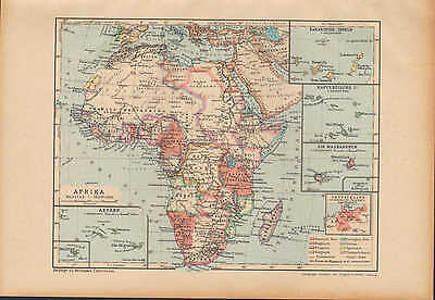 Landkarte map 1912: Africa AFRIKA. Kanarische Kapverdische Inseln. Maskarenen.