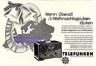 Radio Telefunken Reklame 1931 Europa Weihnachten Werbung von Trias +