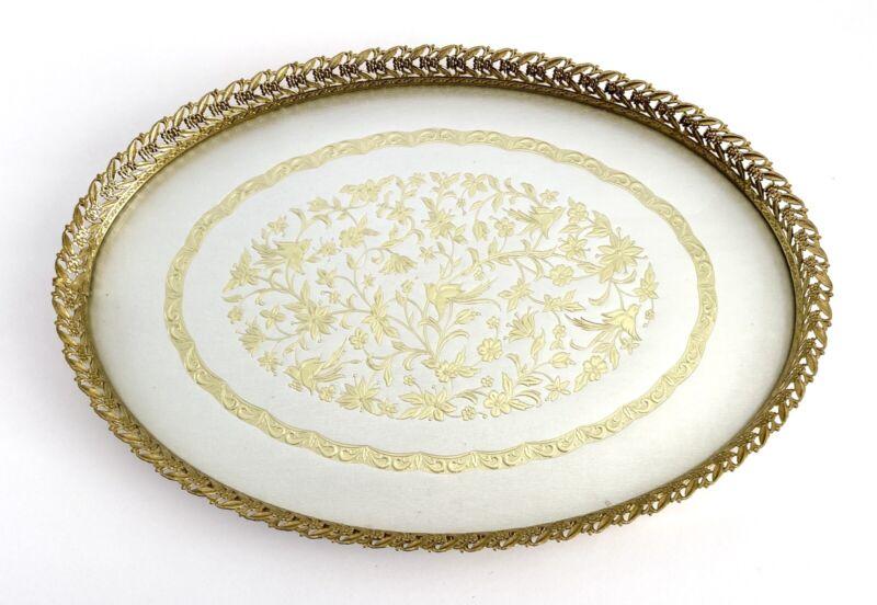 "Vtg Oval Gold Filigree Vanity Dresser Tray Floral Birds Mirror Ormolu Large 16"""
