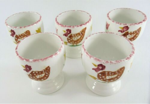 Set of 5 Hand Painted Ceramic Egg Cups with Hen and Chick Design Farmhouse Decor