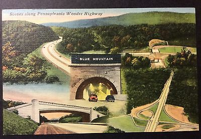 Scenes Pennsylvania Wonder Highway Vintage Linen Postcard Pa Worlds Greatest