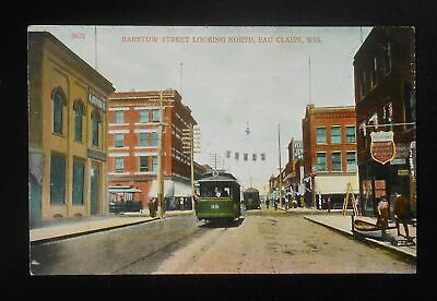 1900s Barstow Street looking North Trolleys Stores Signs Eau Claire WI (Barstow Stores)