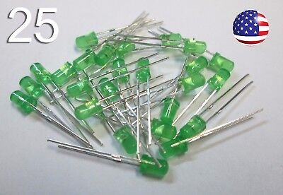 25pcs 3mm Green Diffused Led - Round - New Light Emitting Diode Diy Rc