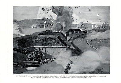 Türkei vs England & Frankreich XL 1916 Druck Festung Anatoli Rumeli Hamidije