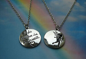 I DO BELIEVE IN FAIRIES CHARM NECKLACE IN GIFT BAG TINKERBELL PETER PAN QUOTE