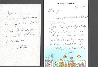 (2) HANDWRITTEN NOTES SIGNED by P-38 LIGHTNING FIGHTER PILOT & ACE (STAN ANDREW)