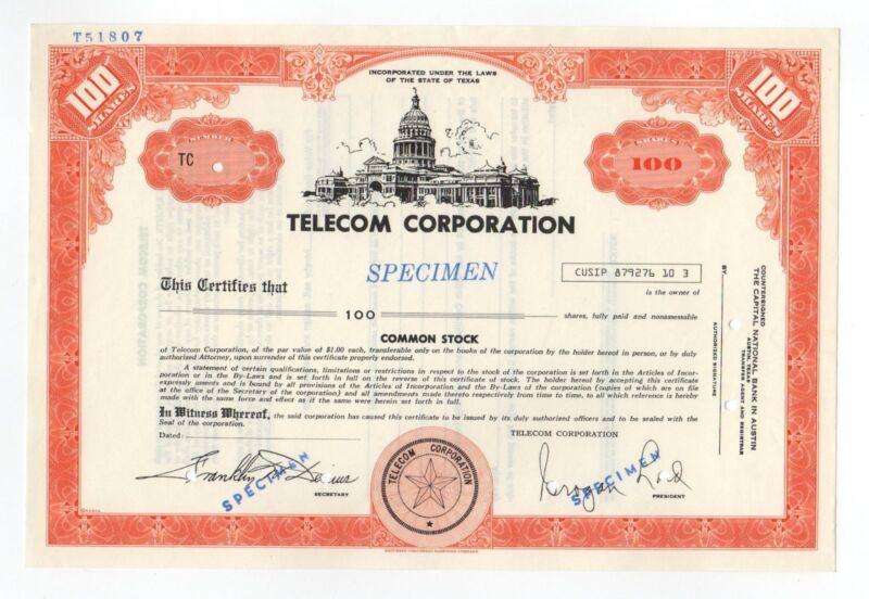 SPECIMEN - Telecom Corporation Stock Certificate