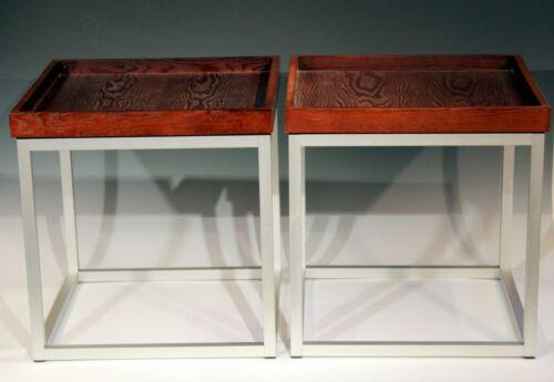 Pair Vintage Aluminum Walnut Mid Century Modern MCM Side Tray Tables