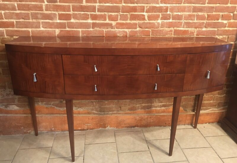 Baker Furniture Neoclassical Satinwood Bow Front Sideboard Buffet Credenza