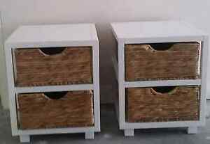 Bedside tables, white and rattan Manly Vale Manly Area Preview