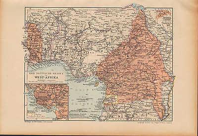 Landkarte map 1912: DEUTSCHER BESITZ in WEST-AFRIKA. KOLONIEN Africa