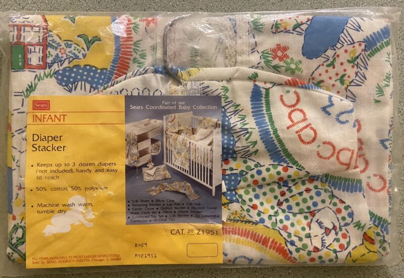 """Vintage Sears Infant Coordinated Baby Collection """"abc"""" Diaper Stacker: NOS"""
