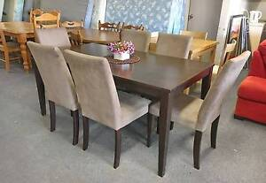 SOLD, MORE COMING - MODERN CHOCOLATE dining table & 6 chairs Belmont Belmont Area Preview