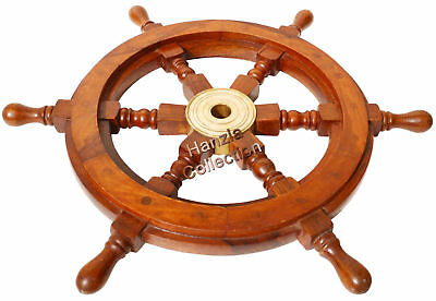 Vintage Brass Hub Ship/Boat Steering Wheel Wood Pirate Nautical Fishing Maritime