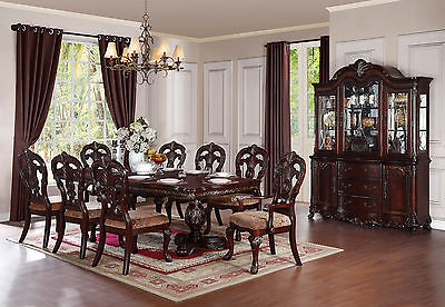 Old World Brown Finish 9 piece Dining Room Set w/ Rectangular Table Chairs IC5U