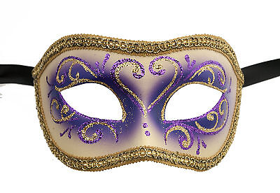 Mask from Venice Colombine or Civet Purple and Golden for Fancy Dress 679 E9B