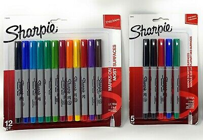 Sharpie Permanent Markers Lot - Various Colors Ultra Fine Point - 17 Markers
