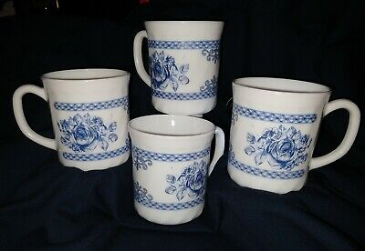ARCOPAL FRANCE HONORINE Blue Floral Roses on white Coffee Cups/Mugs